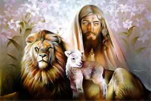 Lion & the Lamb, Jesus paintings, Jesus and the lion of Judah, painting of jesus ,lion and lamb, oil paintings, Christian Artist ~ Christian Painting ~ Wildlife & Landscape Painting ~ original oil paintings by Spencer Williams ~ Wildlife Artist
